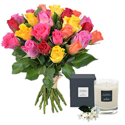 Home delivery of roses and a scented candle