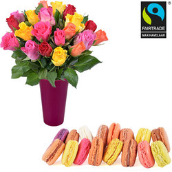 Assortment of macaroons and 20 roses
