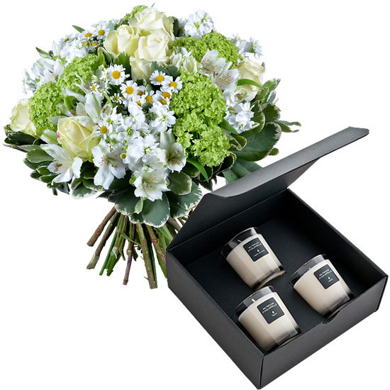 3 x 70g scented candles and a white and green bouquet