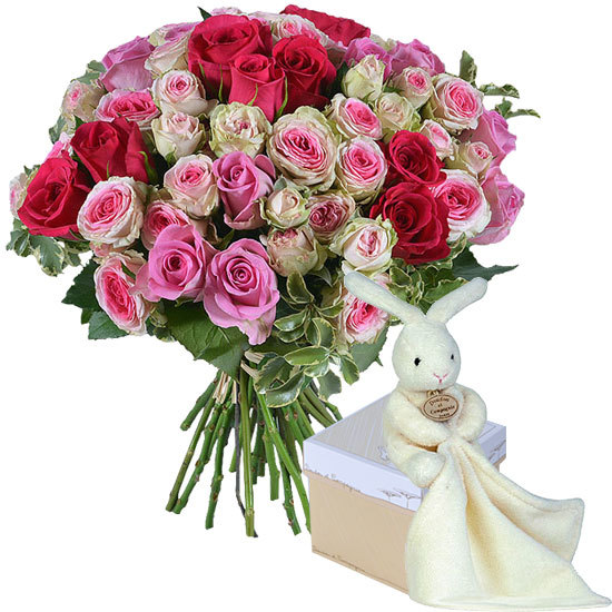 Romantic roses and cuddly rabbit