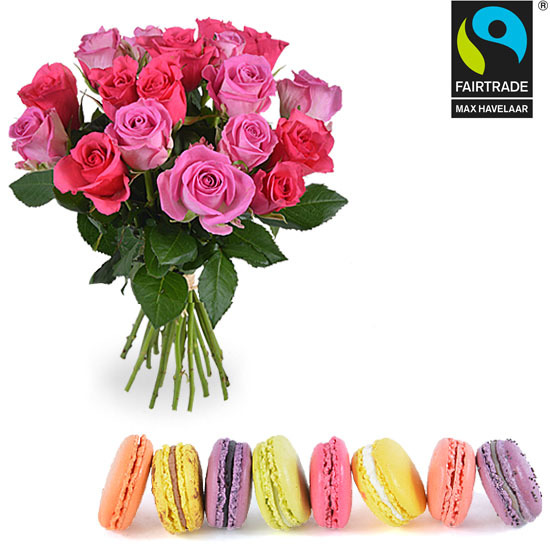 Assortment of macaroons and 20 Fairtrade roses