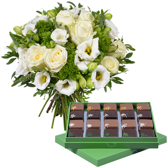 White and Green Bouquet and chocolates