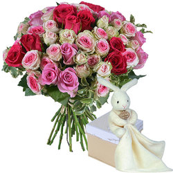 Fleurs naissance livraison bouquet naissance aquarelle for Bouquet de fleurs pour une naissance