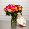 Rose bouquet and cuddly teddy bear