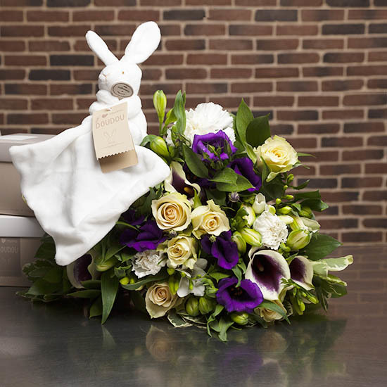 Perfumed Bouquet and cuddly rabbit