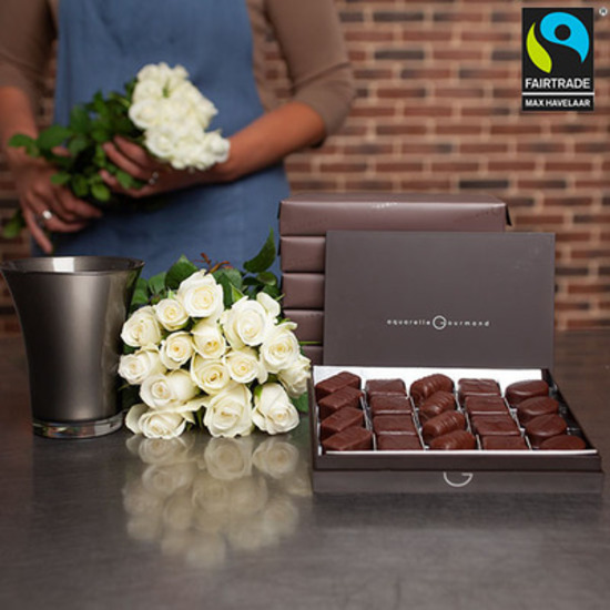Dark chocolates + 15 white roses and a vase