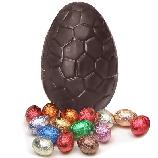 Large dark chocolate crackled Easter egg