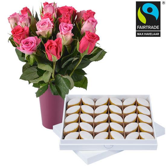 les calissons d 39 aix et 20 roses livraison de fleurs. Black Bedroom Furniture Sets. Home Design Ideas