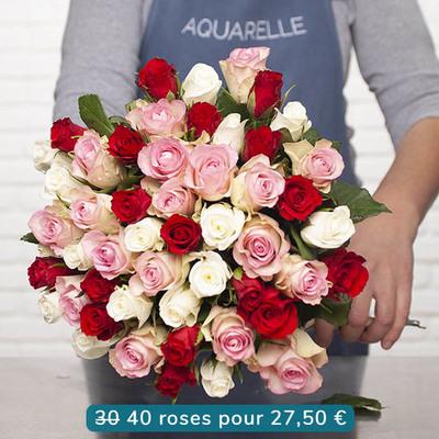 Aquarelle Livraison Fleurs à Domicile 40 Roses à 2750