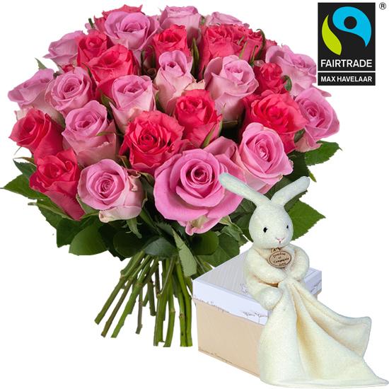 Roses tendresse quitables et doudou lapin aquarelle for Commander un bouquet