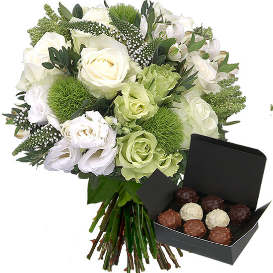Offer a white and green bouquet