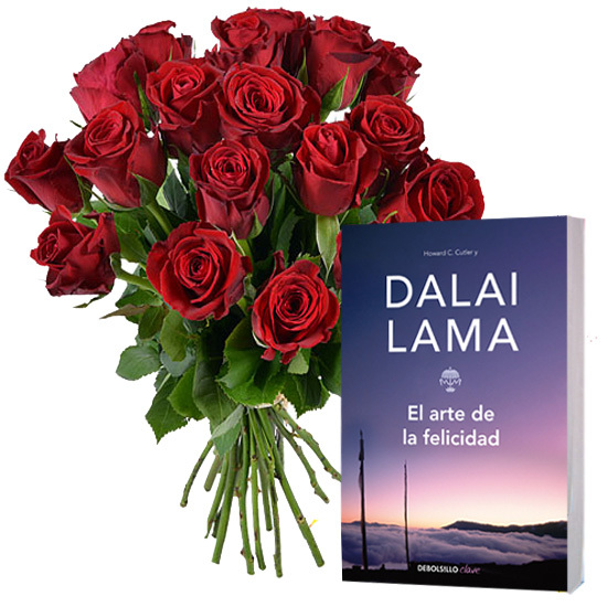 20 red roses and a book