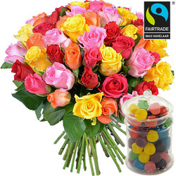 Bouquet of multicoloured Fairtrade roses and a jar of  Dragibus