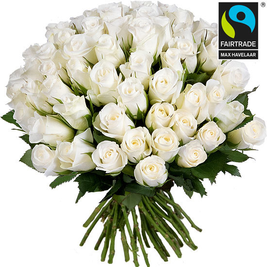 Offer a pure bouquet of Fairtrade white roses
