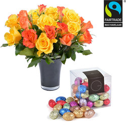 Cube of mini Easter eggs and roses