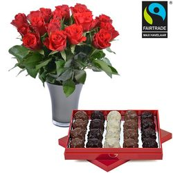Rochers and Red roses