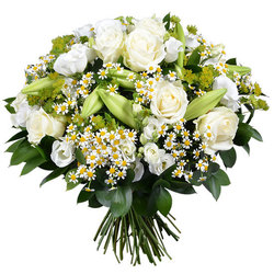 Send a majestic white bouquet