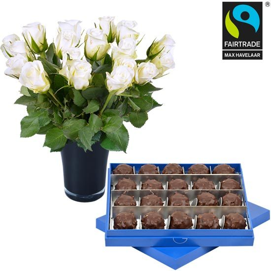 Dark Ecuador Chocolate Rochers + 20roses and a vase