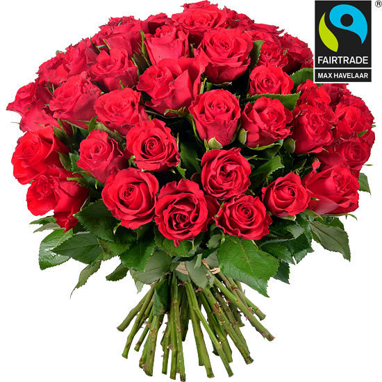 Order a velvet bouquet of Fairtrade red roses