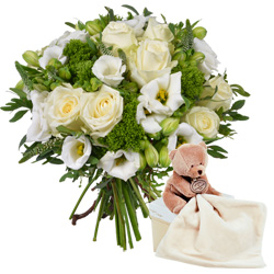 Order a bouquet and cuddly bear