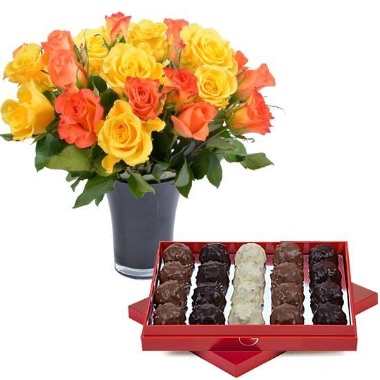 Poppy red box of rochers + 20 yellow roses + a vase