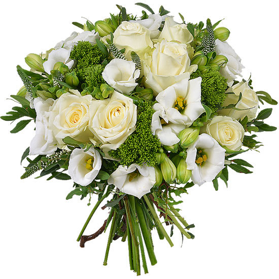 Send a white and green bouquet