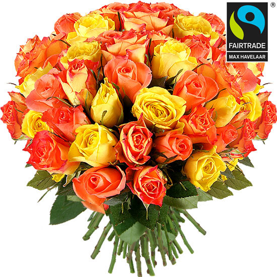 Send a bouquet of yellow and orange roses