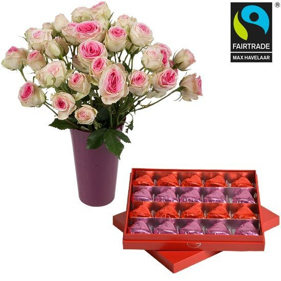 Red Box of Chocolate Hearts with Roses