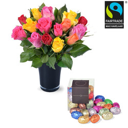 15 roses and vase with 20 mini Easter eggs