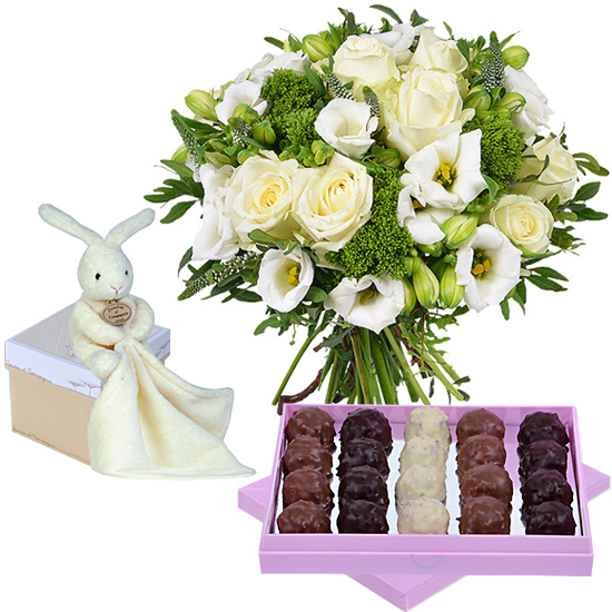 Bouquet, box of rochers and cuddly rabbit