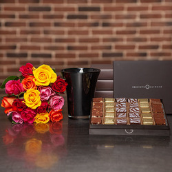 Chocolate Squares and 15 Roses