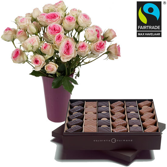 Offer a chocolate assortment and roses