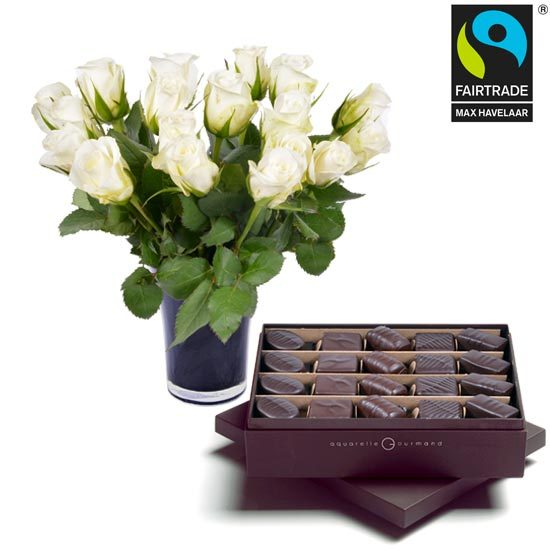 Dark chocolates + 20 white roses and a vase