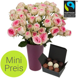 Mimi Eden fair-trade roses, a vase and rochers