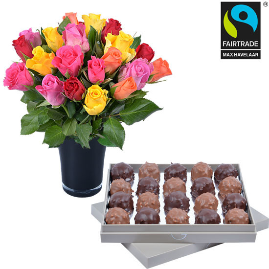 Dark and milk Ecuador Chocolate Rochers + 20 roses and a vase