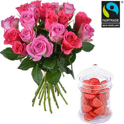 20 FAIRTRADE roses and a jar of strawberry Tagadas