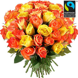Bouquet of yellow and orange fairtrade roses