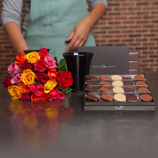 Perfect Harmony chocolates and roses