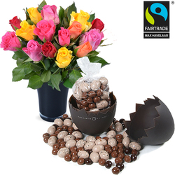 Egg shaped box filled with chocolate eggs plus 15 roses and a vase