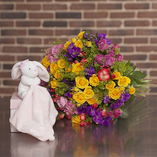 Congratulations Bouquet and cuddly rabbit