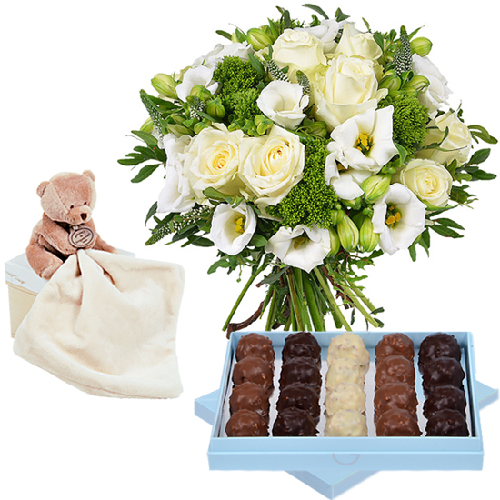 Bouquet, rochers and cuddly bear