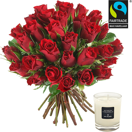 Fairtrade red roses and a candle