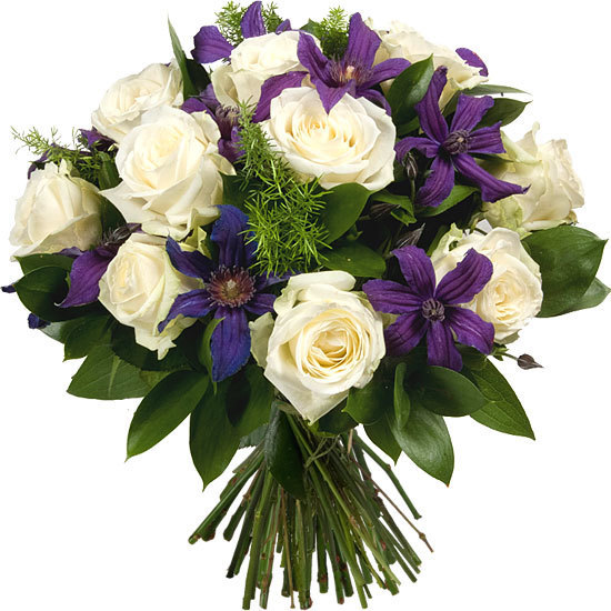 White roses and blue clematis