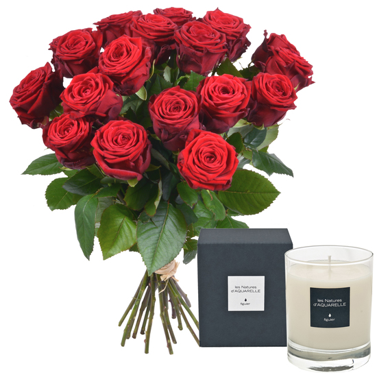Long-stemmed red roses with sentez candle