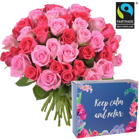 Roses et coffret 'Keep calm and relax'