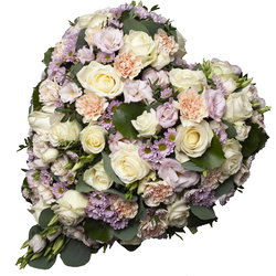 Same day delivery available with the Pastel  Funeral Heart