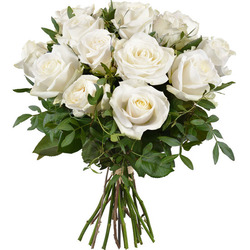 Same day delivery available the 12 White Roses Bouquet